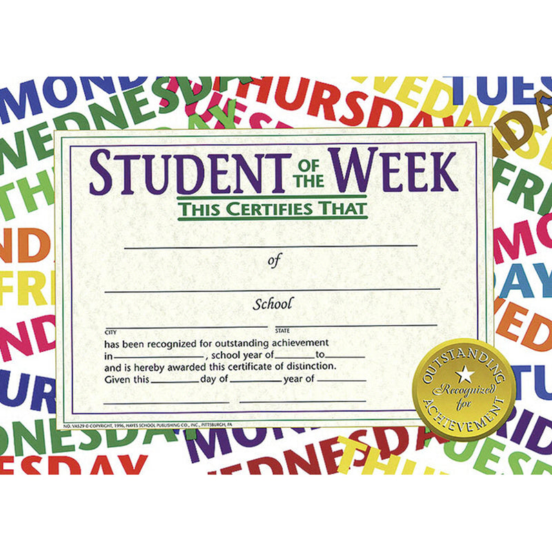 Student Of The Week 30-pk 8.5 X 11 Certificates