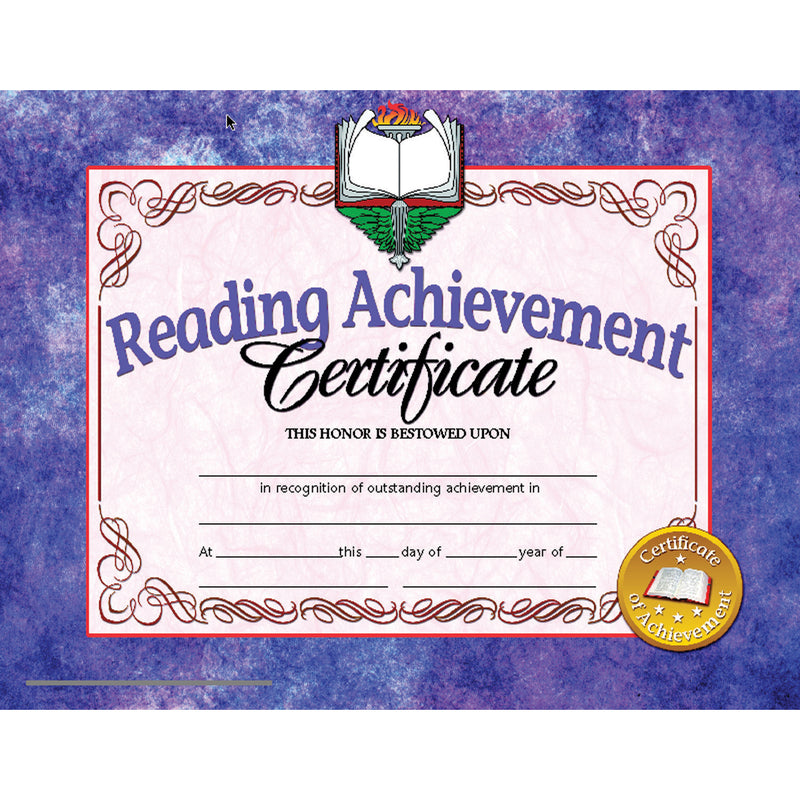 (6 Pk) Reading Achievement Cert Inkjet Laser 8.5x11 30 Per Pk