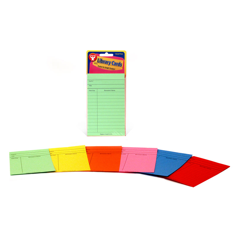 Bright Library Cards 50ct Asst Colors