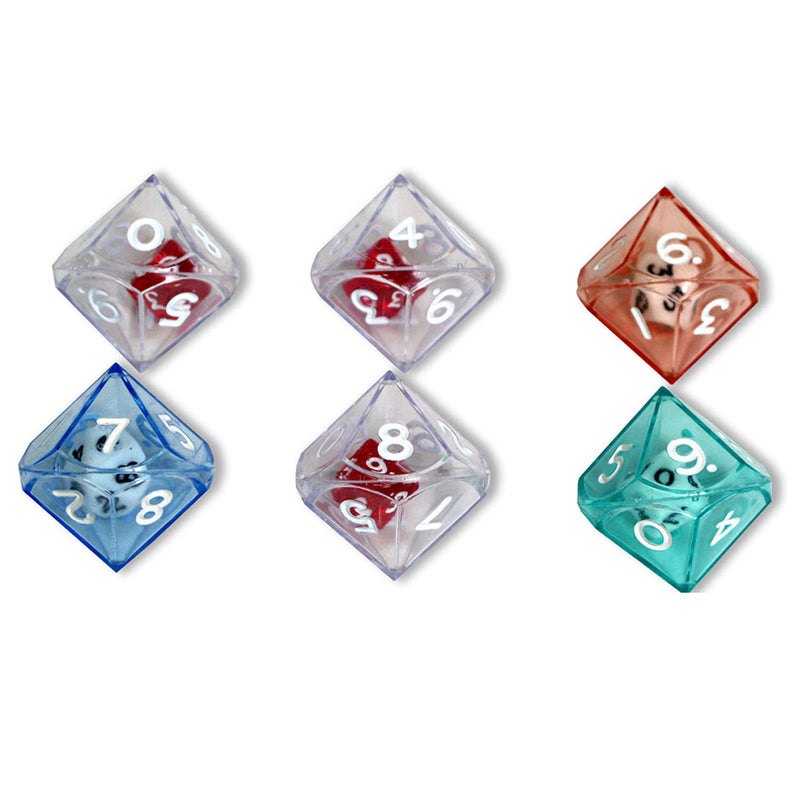 (6 Pk) 10 Sided Double Dice 6 Per Pk