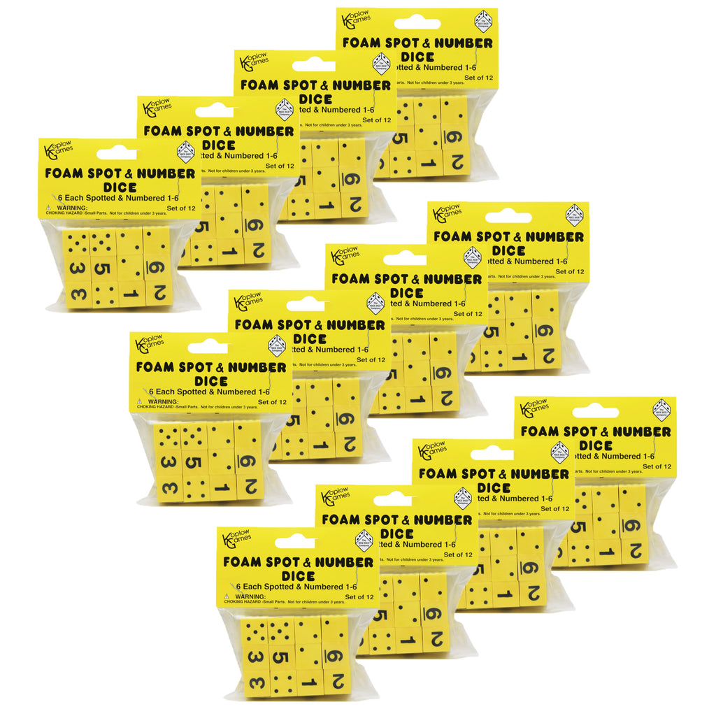 (12 Pk) 16mm Foam Dice 12 Per Pk Yellow Spot & Number
