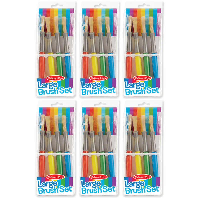 (6 Pk) Large Paint Brushes 4 Per Set