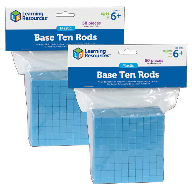 (2 Ea) Base Ten Rods Plastic Blu 50 Pk 1x1x10cm