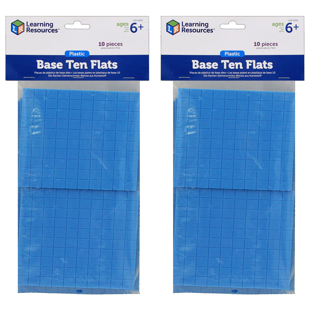 (2 Ea) Base Ten Flats Plastic Blue 10pk 1x10x10cm