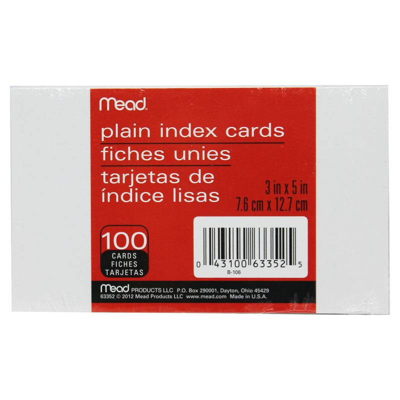(36 Pk) Cards Index Plain 3x5 100 Per Pk