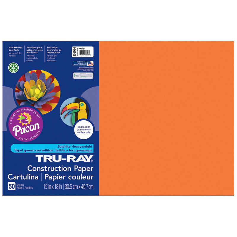 (5 Pk) Tru Ray 12x18 Orange Construction Paper 50sht Per Pk