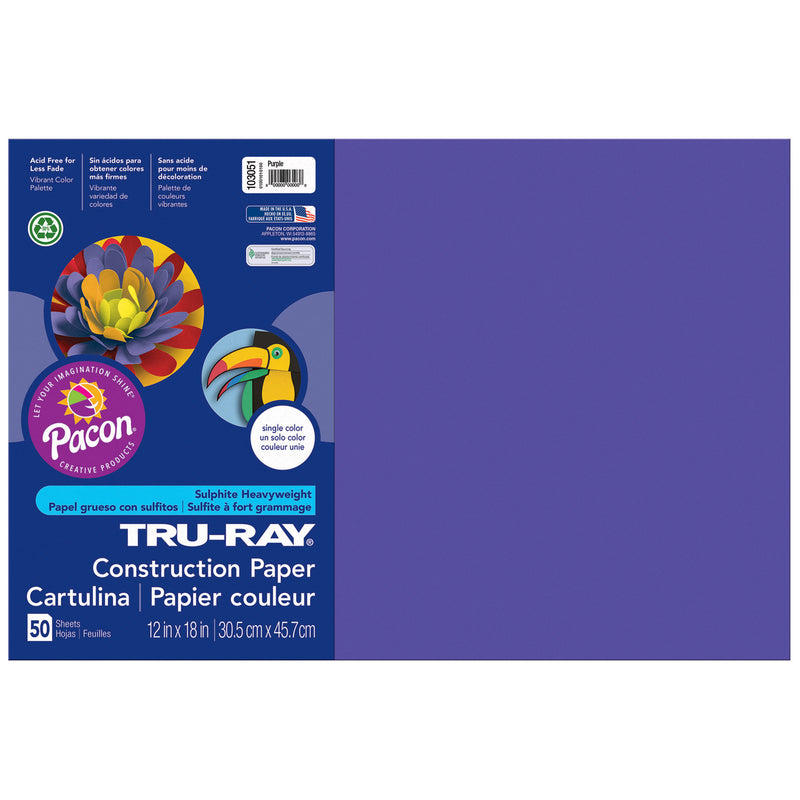 (5 Pk) Tru Ray 12x18 Purple Construction Paper 50sht Per Pk