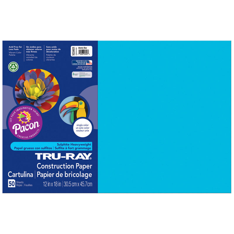 (3 Pk) Tru Ray Atomic Blue 12x18 Fade Resistant Construction Paper