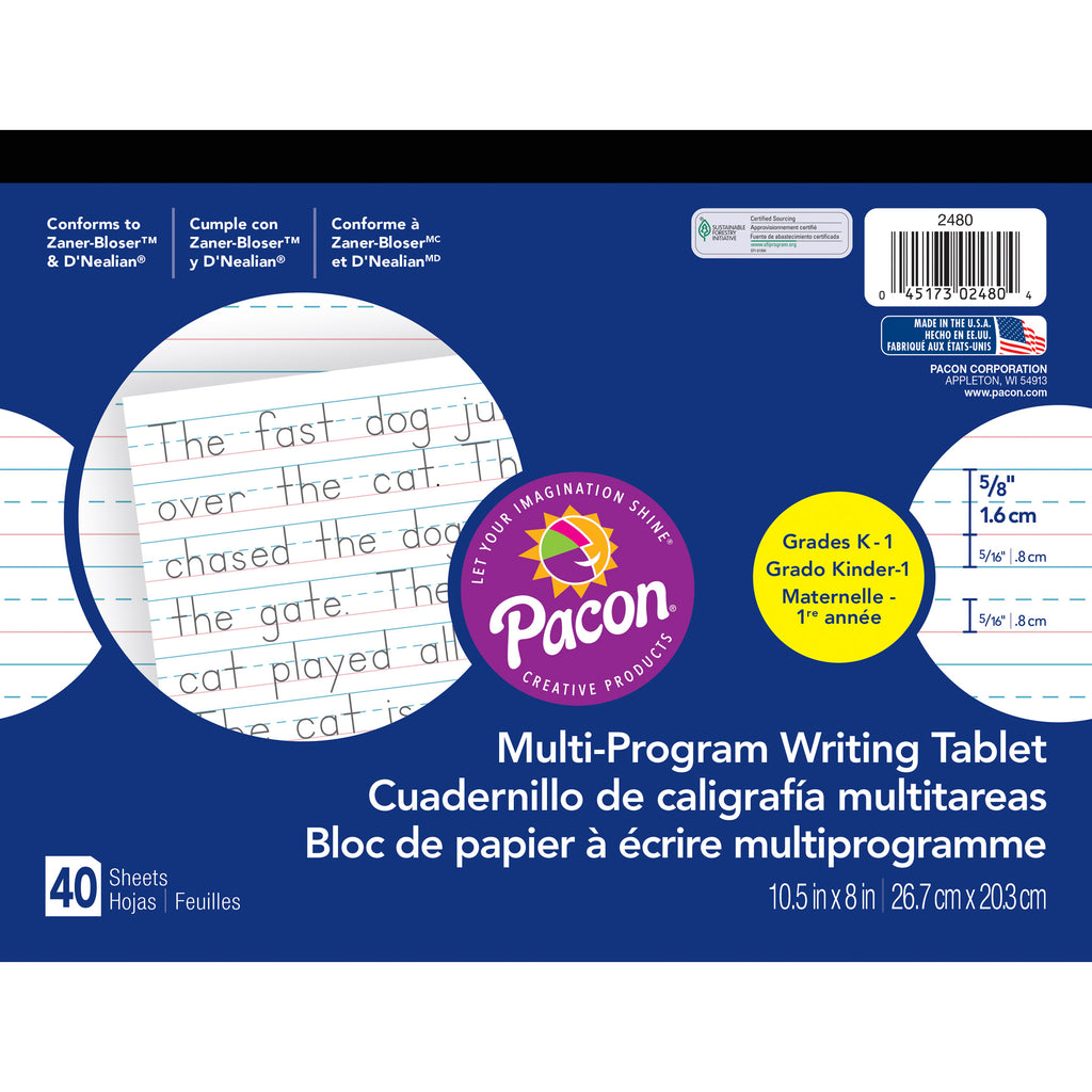(12 Ea) Dnealian Multi-program Gr K Handwriting Paper 10.5x8.63
