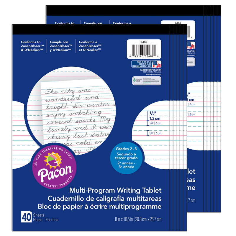 (12 Ea) Writing Paper 1-2in Ruled 8x10.5 40sht Per Pk