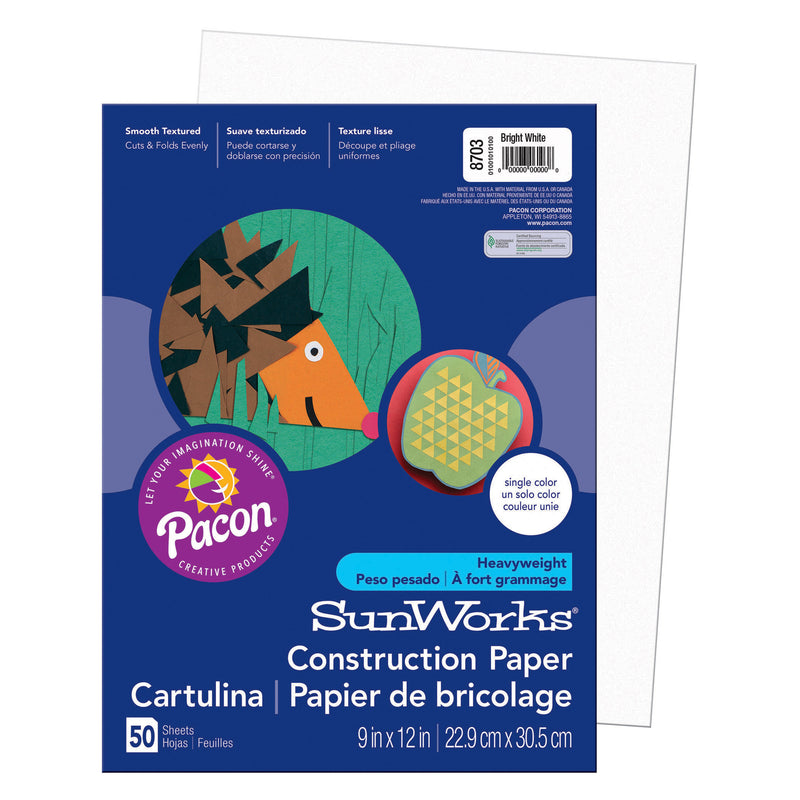 Sunworks 9x12 Bright White 50ct Construction Paper