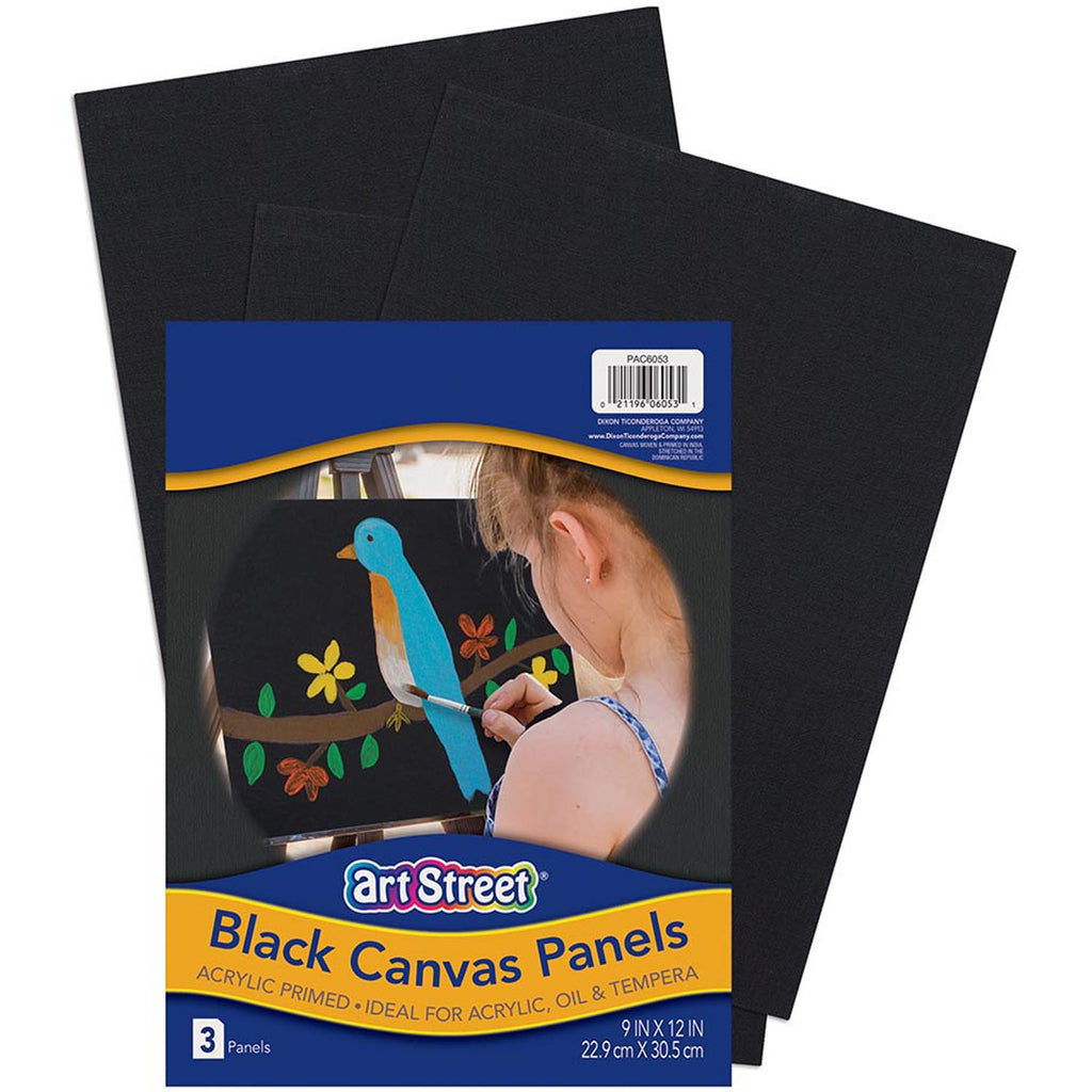 Art Street Canvas Panels Black 3pk 9x12