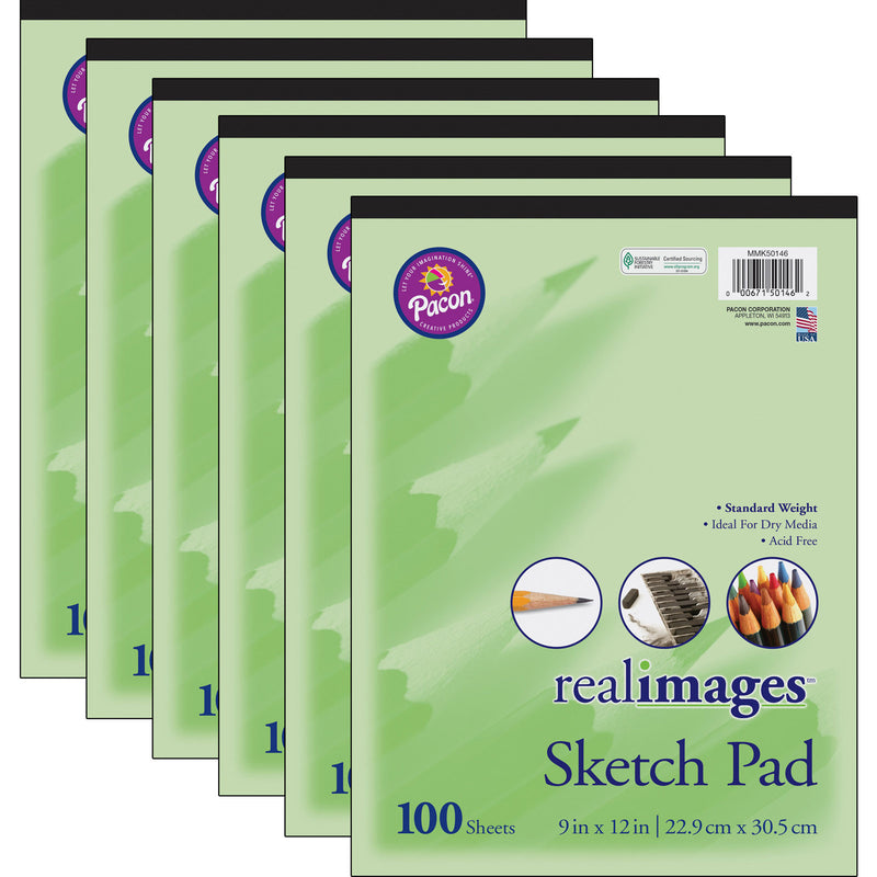 (6 Ea) Real Images Sktch Pad Stand Weight 9x12 100 Sheets