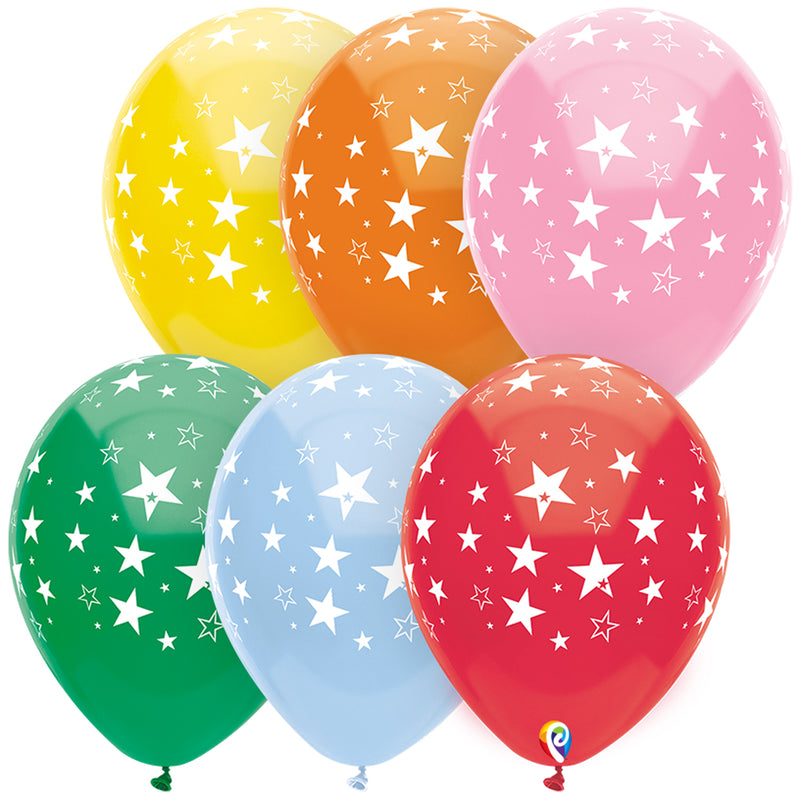 (12 Pk) 12in Stars Al Over Balloons 8 Pk