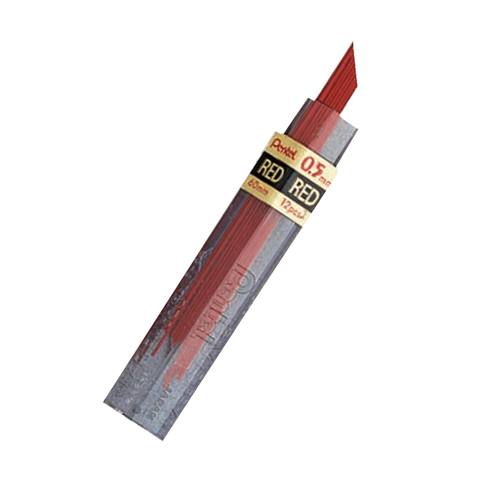 (12 Ea) Pentel Hb Super Hi Polymer 0.5mm Red Leads