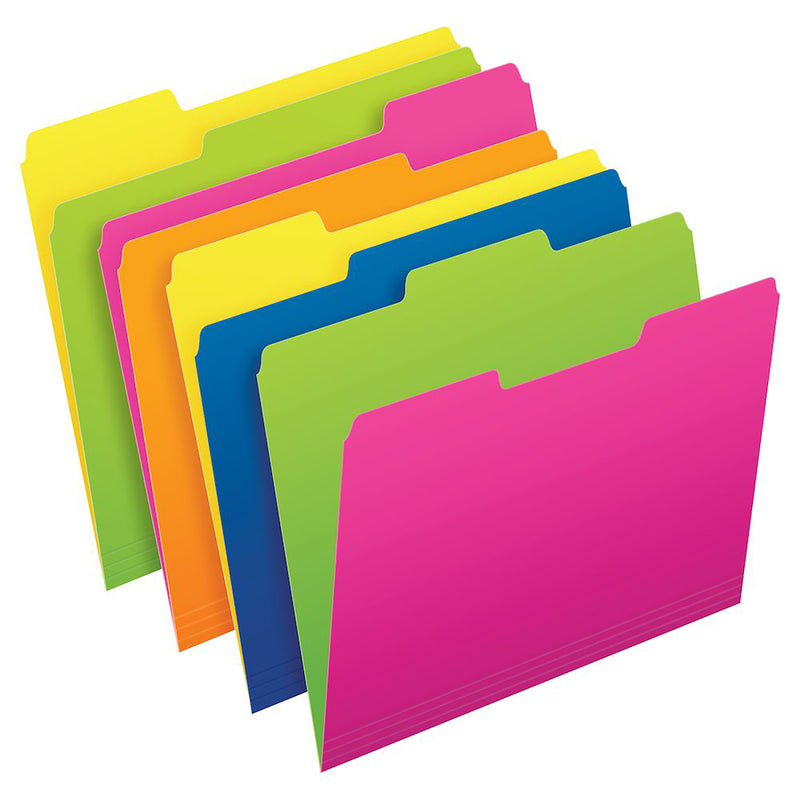Twisted Glow File Folders 12pk Letter Size Asst Colors Pendaflex