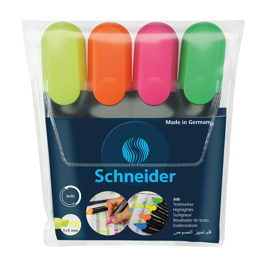 Schneider Job Highlighters Chisel Tip 4 Colors Asstd Org Grn Pnk Ylw
