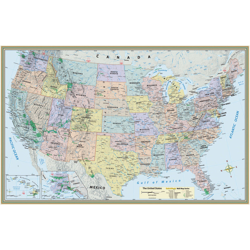 Us Map Laminated Poster 50 X 32
