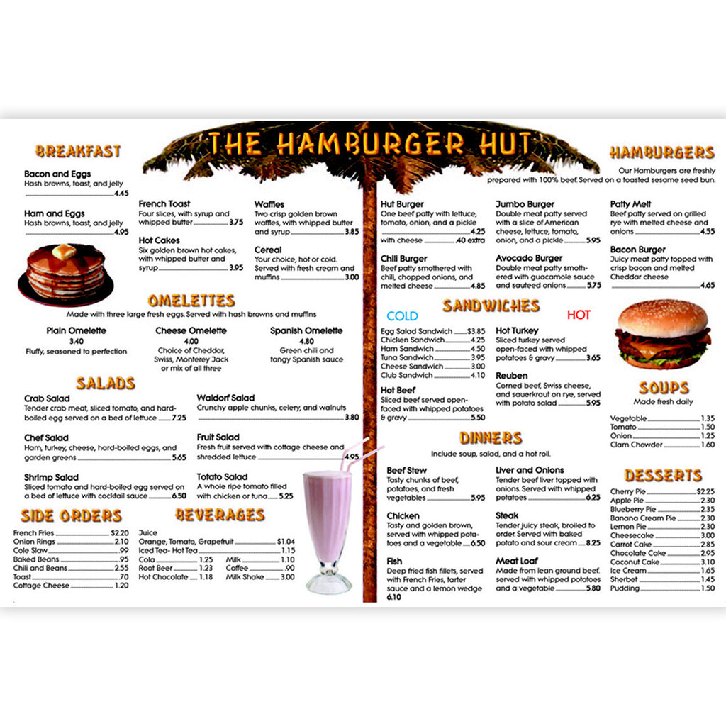 Menu Math Hamburger Hut Extra Menus 6