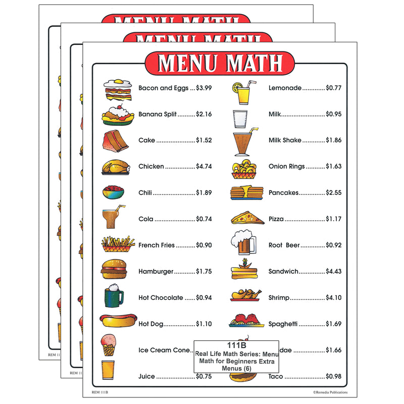 (3 Pk) Menu Math For Beginners 6pk Extra Price Lists