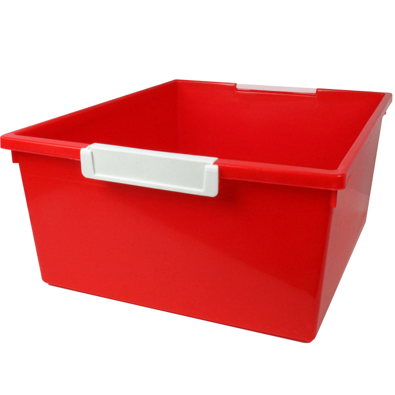 (3 Ea) 12qt Red Tattle Tray W Label Hold