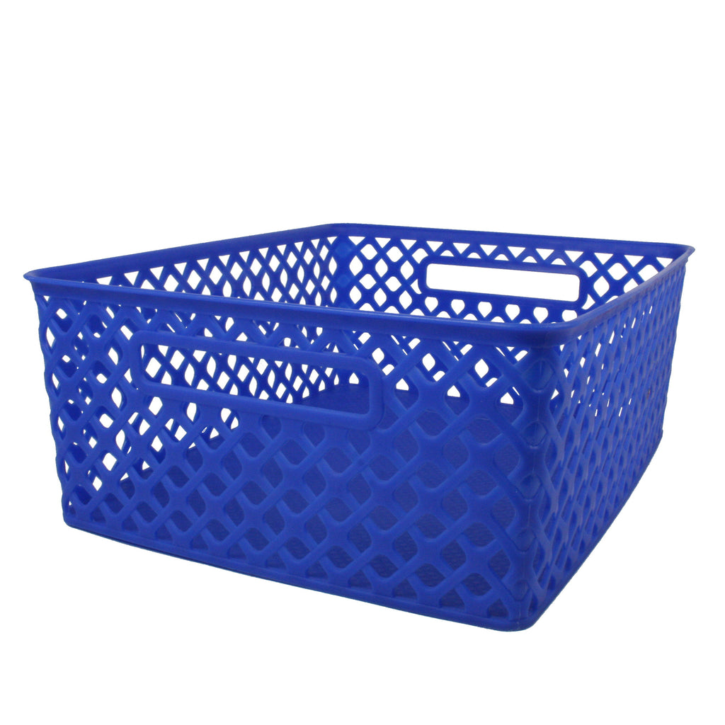 (3 Ea) Medium Blue Woven Basket