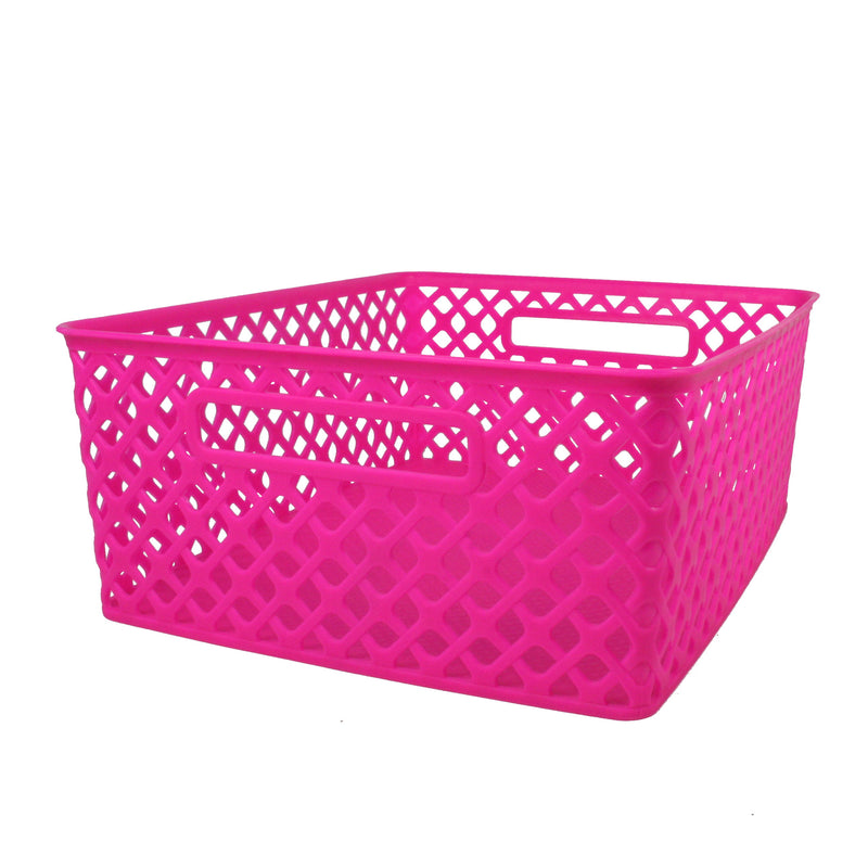 (3 Ea) Medium Hot Pink Woven Basket