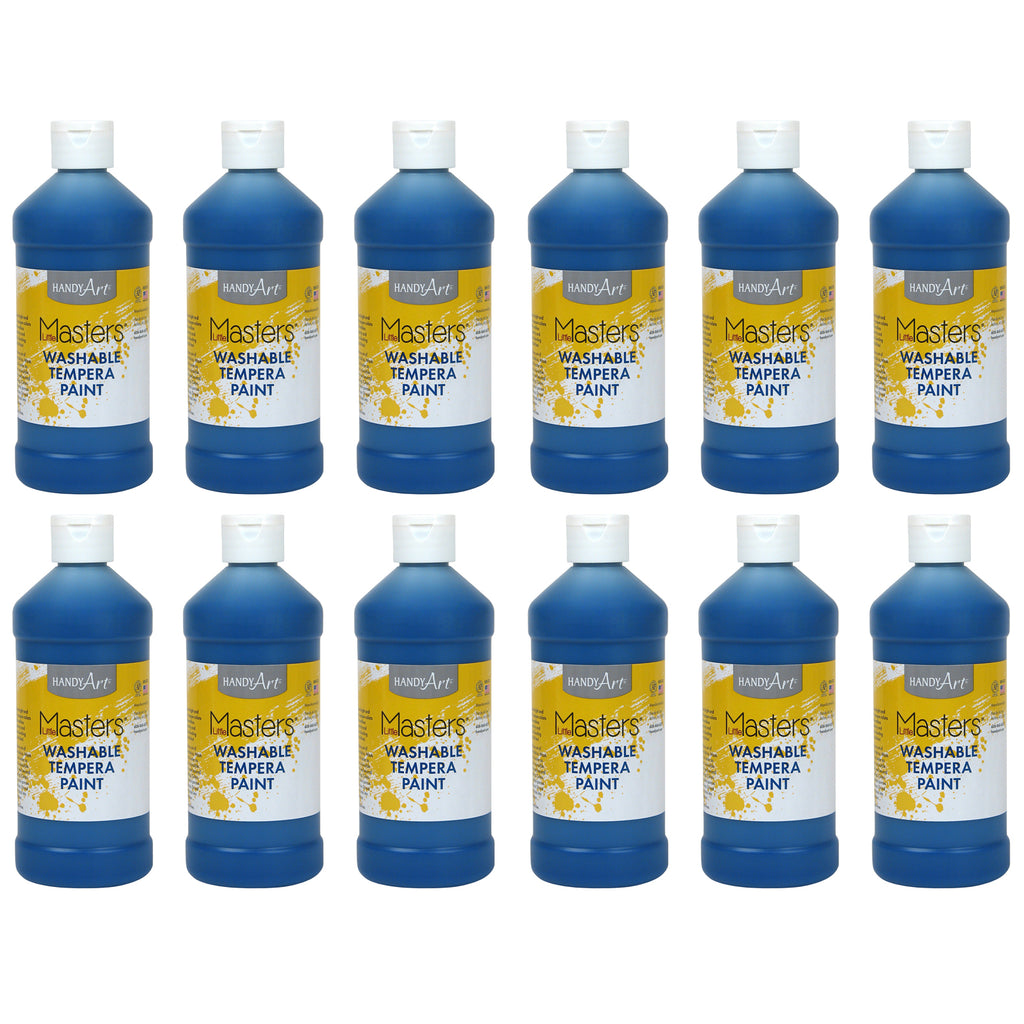 (12 Ea) Little Masters Blue 16oz Washable Paint