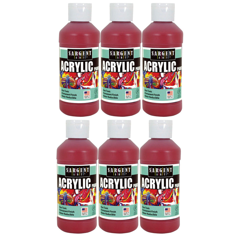 (6 Ea) Sargent Art Acrylic Paint 8 Oz Red