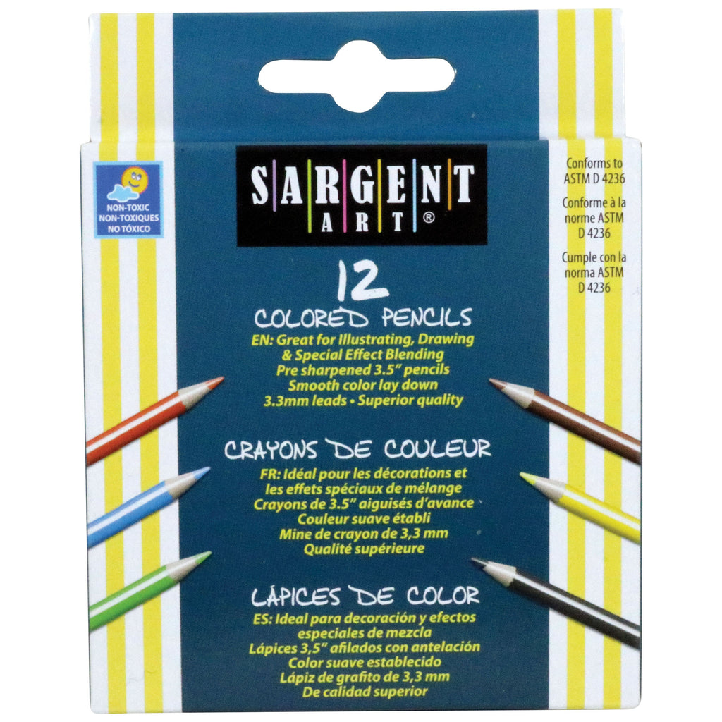 (24 Bx) Sargent Art Half-sized Colored Pencils 12 Per Pk
