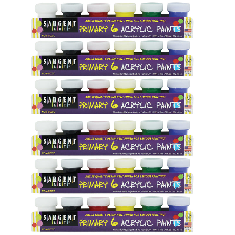 (6 Pk) Acrylic Paint 6 Colors Per Pk