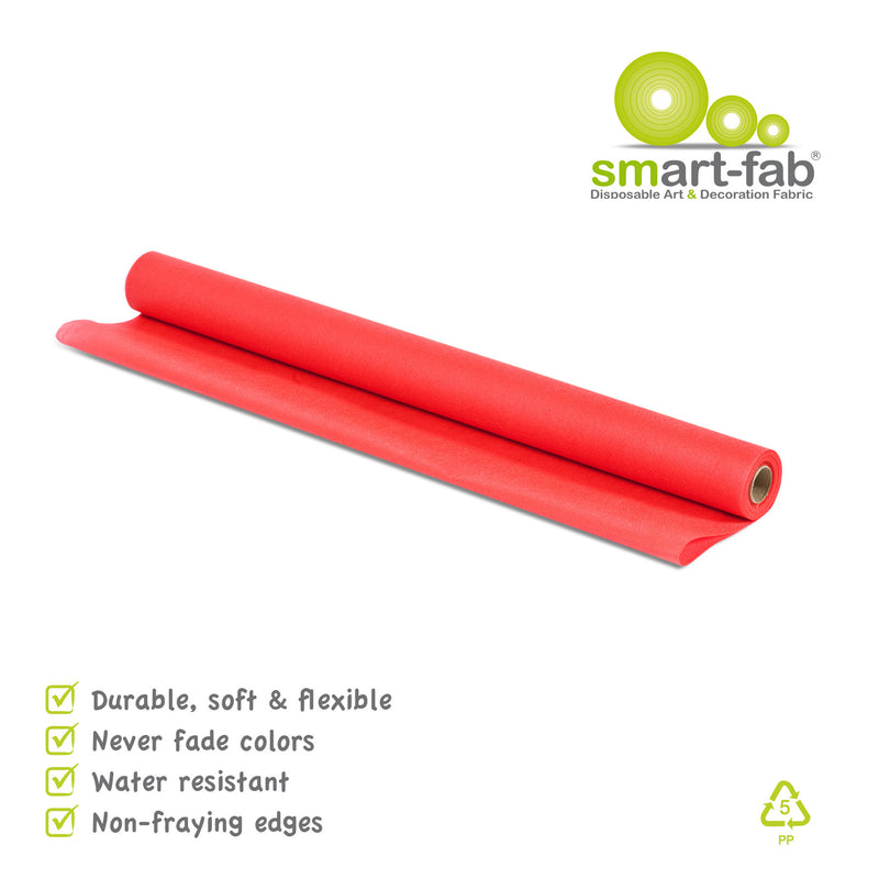 (3 Rl) Smart Fab Red 24inx18ft Roll Dispos Art & Decor Fabric