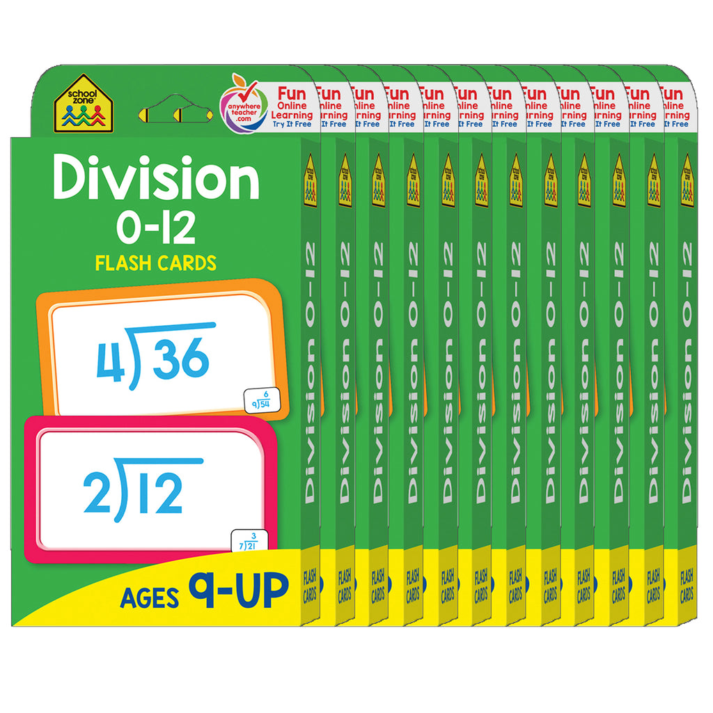 (12 Pk) Division 0-12 Flash Cards