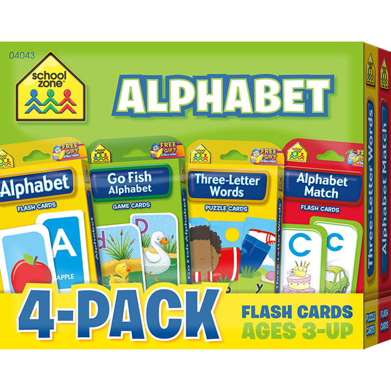 (2 Pk) Alphabet Flash Cards 4 Per Pk