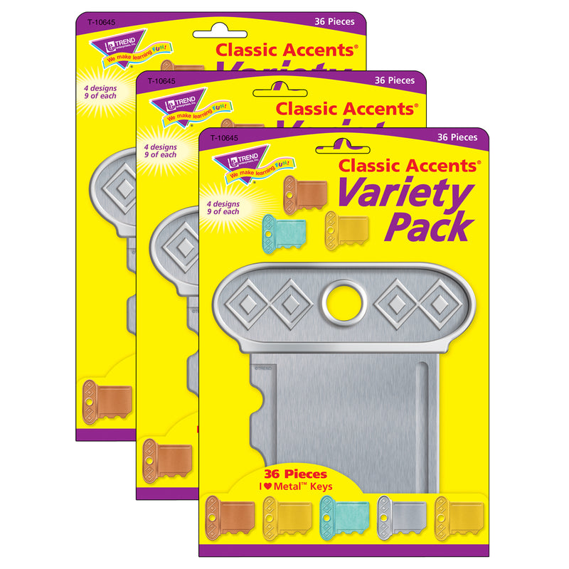 (3 Pk) Keys Classic Accents Var Pack I Heart Metal