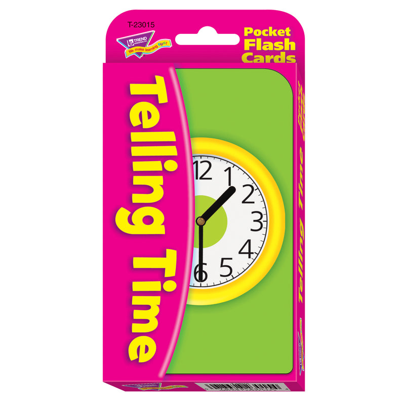 (6 Ea) Pocket Flash Cards Telling Time 56-pk 3 X 5 Two-sided Cards