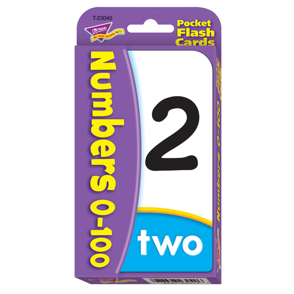 (12 Pk) Numbers 0-100 Pocket Flash Cards