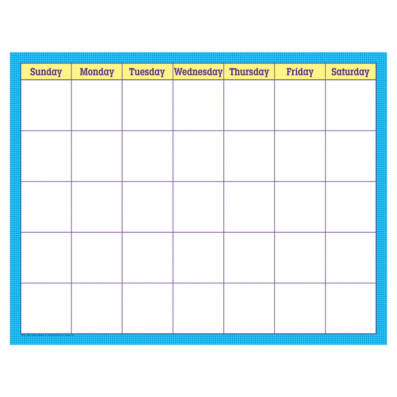 Blue Check Wipe Off Calendar Monthly