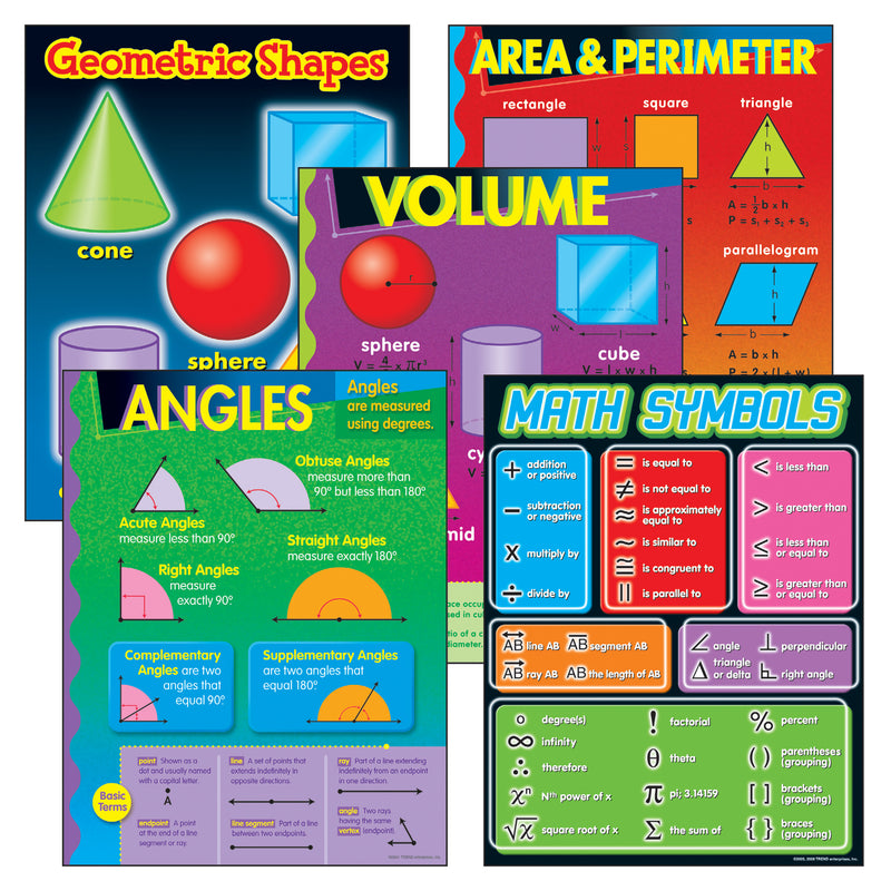 (2 St) Geometry Learning Charts Combo Pk