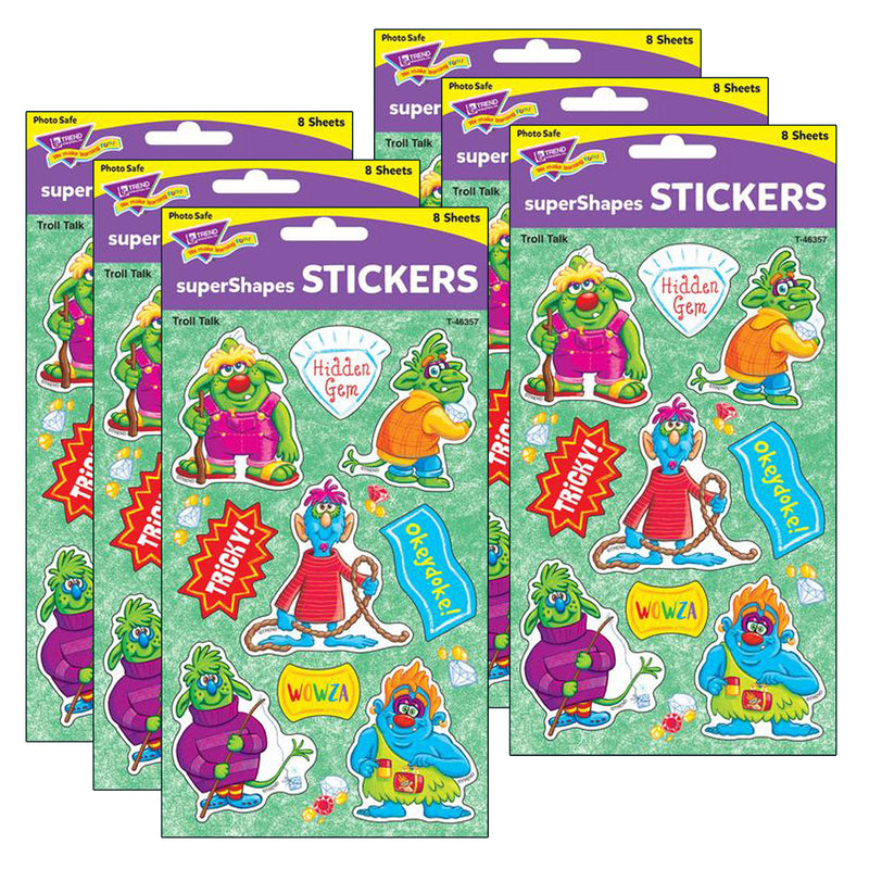 (6 Pk) Troll Talk Large Stickers 72 Ct