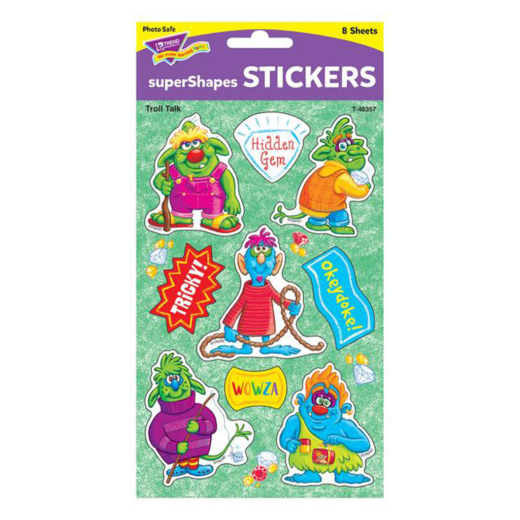 Troll Talk Large Stickers 72 Ct