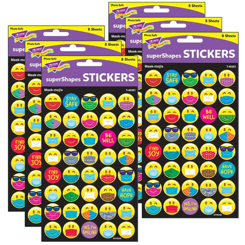 (6 Pk) Mask-mojis Large Stickers 320 Ct