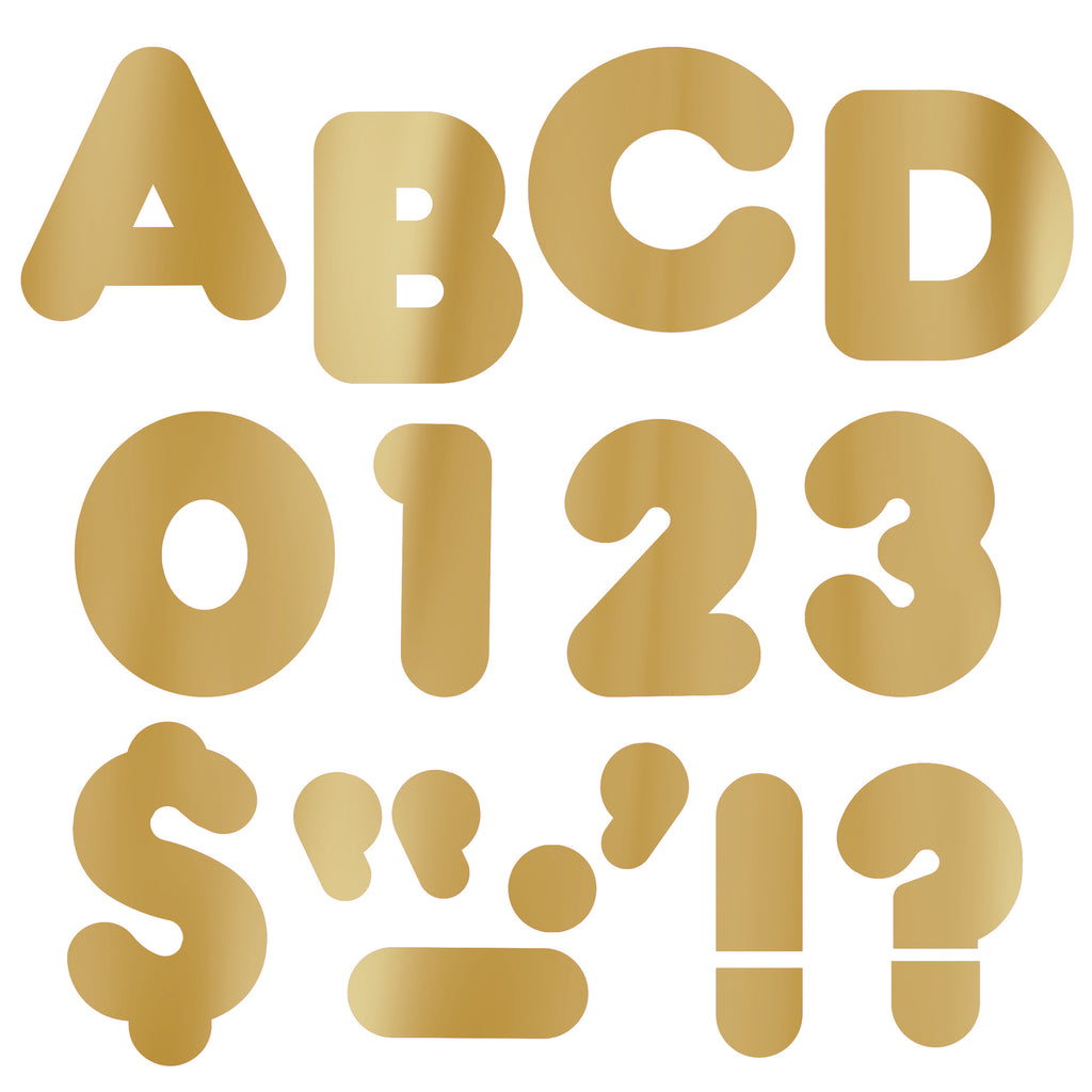 (3 Pk) Ready Letters 2in Casual Metallic Gold