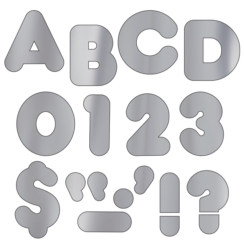 (3 Pk) Ready Letters 2in Casual Metallic Silver