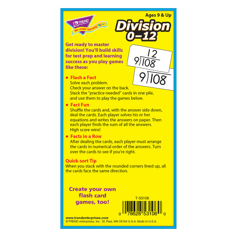 Flash Cards Division 0-12 91-box