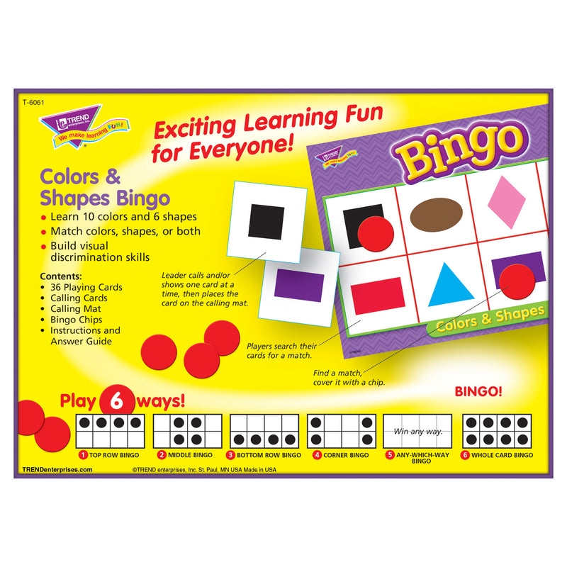 Bingo Colors & Shapes Ages 4 & Up