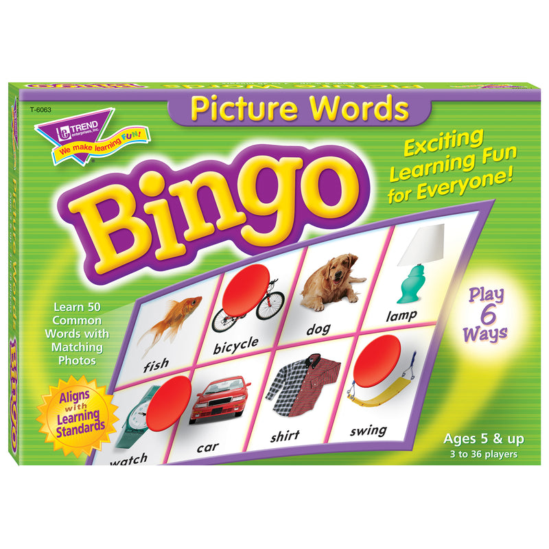Bingo Picture Words Ages 5 & Up