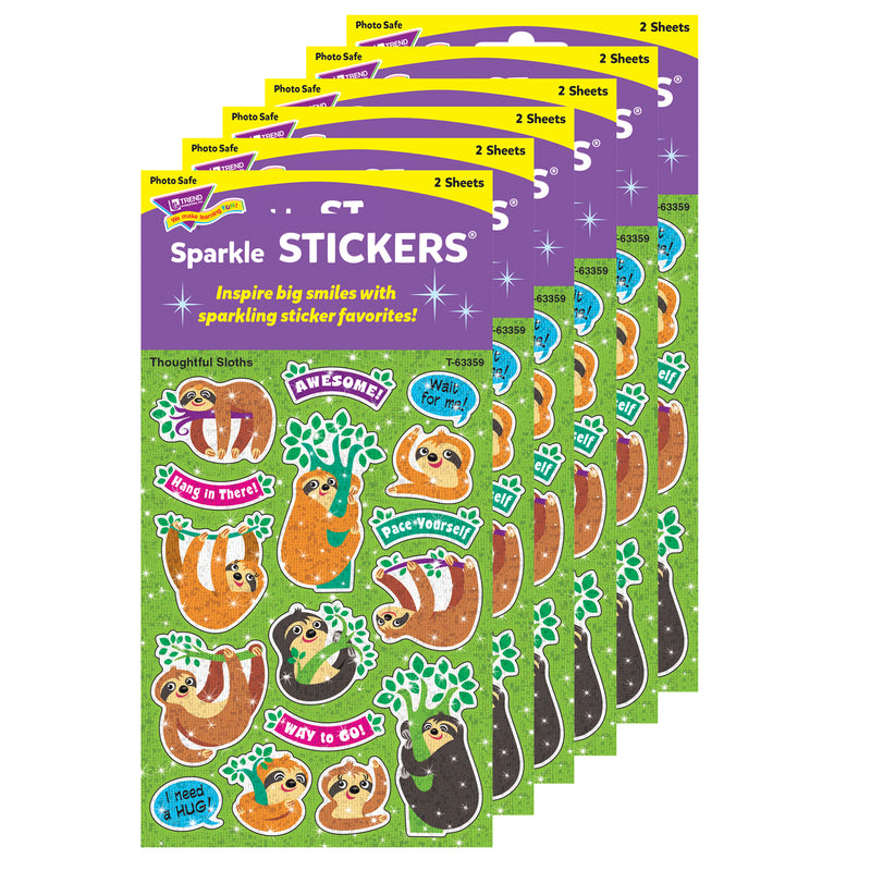 (6 Pk) Thoughtful Sloths Sparkle Stickers 32 Ct