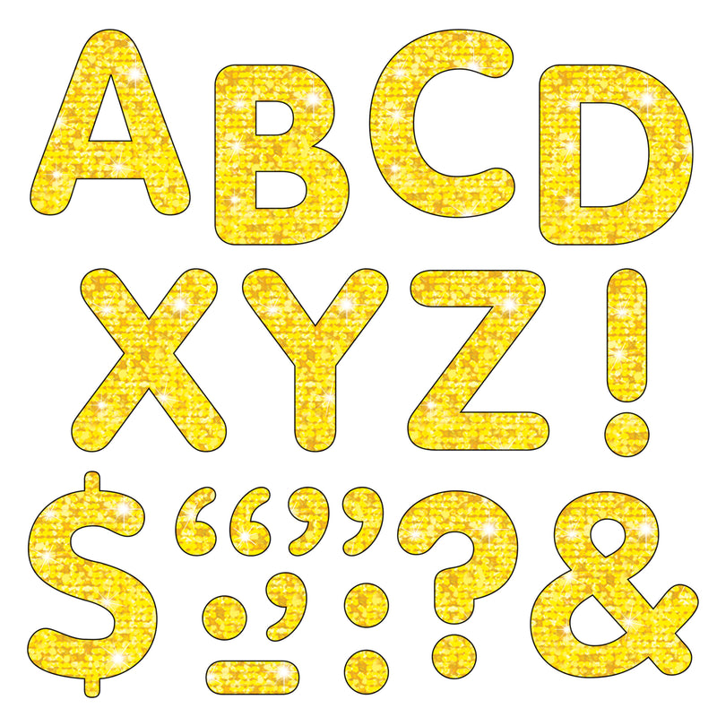 (3 Pk) Stick-eze 2in Yellow Sparkle Letters Numbers Punctn 107 Per Pk