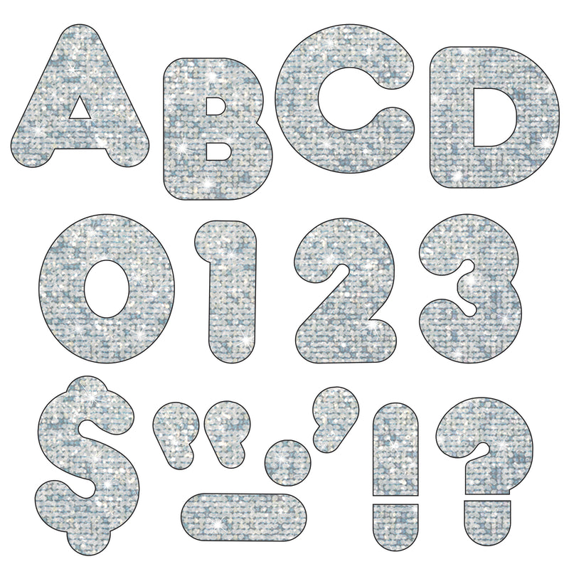 (3 Pk) Ready Letters 3in Silver Sparkle Casual 123 Per Pk